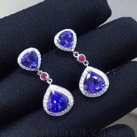 絢彩珠寶18K金豪華水滴形坦桑石耳墜5.98克拉坦桑石裸石款式大方日常佩戴顏色好