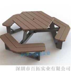杭州長喬定制塑木戶外餐桌椅組合防水防污景區室外桌椅