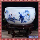景德鎮陶瓷工藝品落地烏龜缸手繪青花山水聚寶盆瓷缸擺件