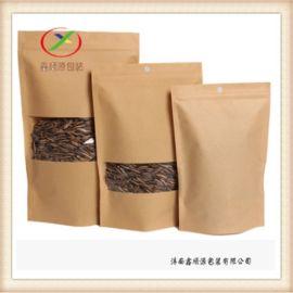 牛皮纸自立开窗茶叶袋 坚果包装纸袋