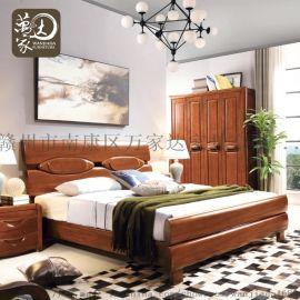 现代简约中式实木家具卧室组合中式全实胡桃木