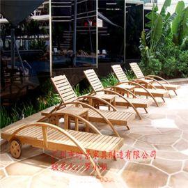 户外躺床实木躺床实木躺椅沙滩椅游泳池躺椅室外躺椅