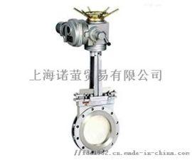 上海沪工阀门厂电动法兰涡轮对夹闸阀