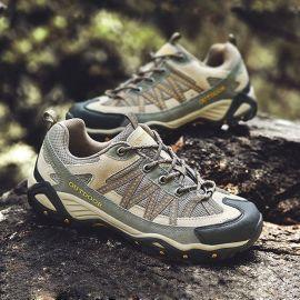 春夏季真皮户外鞋新款网布透气防滑情侣登山徒步鞋低帮防水登山鞋