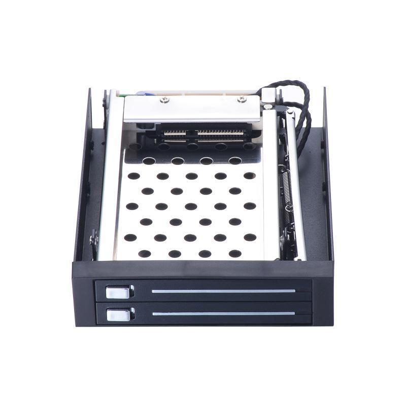"""铝面板2.5寸双层内接硬盘盒软驱位2.5""""SATA硬盘抽取盒双盘位带锁"""