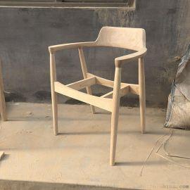 广岛餐椅北欧橡胶木实木快餐奶茶店咖啡厅椅子白茬白胚