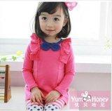 秋季新款韓版女童裝,純色蝴蝶結花邊上衣,純棉品質長袖t恤