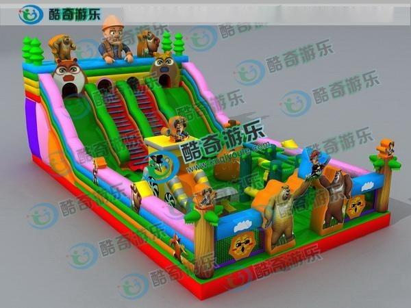 庙会充气城堡价格 儿童滑梯熊出没气包