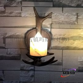 玛斯欧单头热卖MS-W2001树脂鹿角壁灯复古风格酒店客房吧台壁灯E14灯头艺术设计墙壁壁灯LED光源