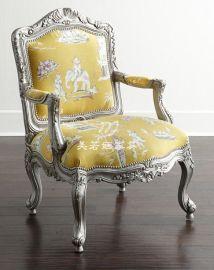 美式新古典客厅布艺单人沙发椅美式复古做旧银箔雕花单人沙发老虎椅
