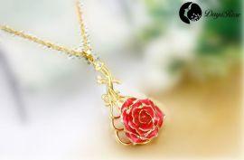 黛雅镀金真玫瑰花项链花朵吊坠饰品首饰长款(款式9) 厂家批发