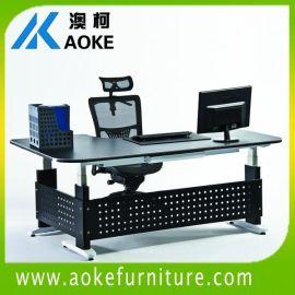 L型升降办公桌三柱升降桌转角老板桌两用坐站办公台老板桌