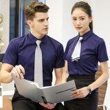 夏季男 女短袖情侣款纯色细斜纹职业衬衫中国平安保险客服工装服