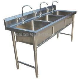 廚房304不鏽鋼三眼水池