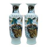 手繪擺件花瓶廠家     作品手繪花瓶