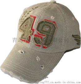 青岛帽子厂家定制各式破破水洗帆布/棉布贴布绣花棒球帽GD-094