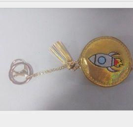 格丽特金葱6P环保创意皮革钥匙扣礼品挂件吊饰装饰品