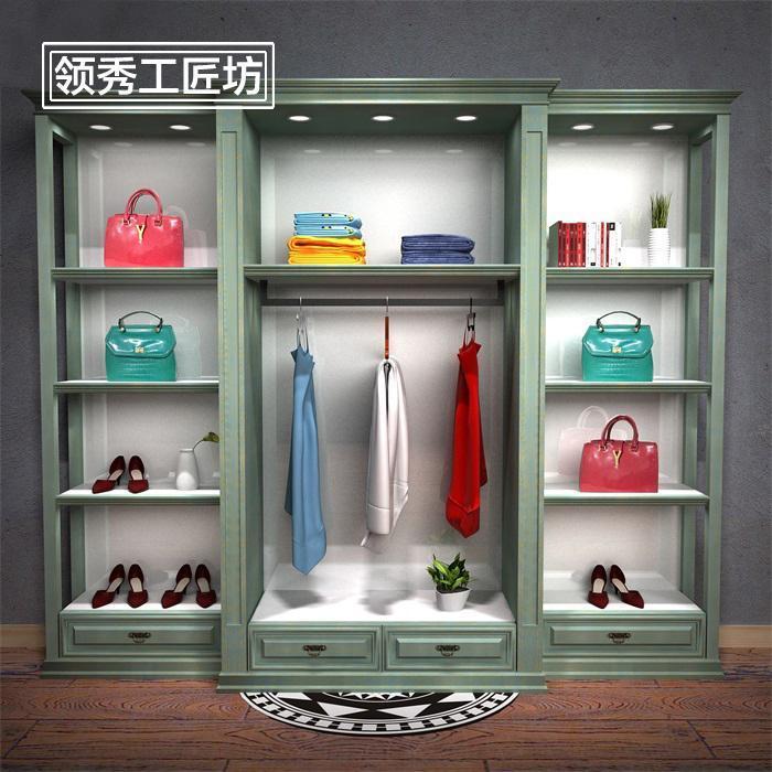 复古包包男女鞋服装童装店家纺高柜流水台橱窗靠墙展示中岛柜组合
