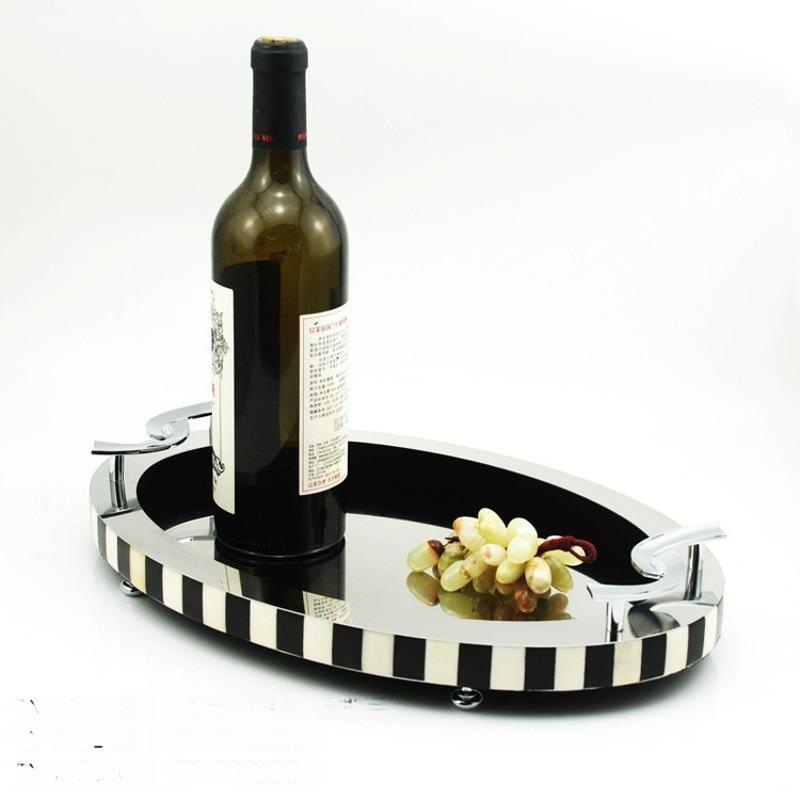 中式橢圓形黑白牛骨牛角樣板間銀色邊框金屬裝飾托盤家用創意歐式