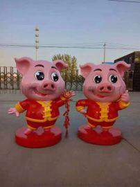 玻璃鋼金豬雕塑,大型玻璃鋼動物雕塑廠家