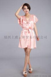 女式新款缎面睡衣 情趣内衣 弹力色丁睡袍 家居和服睡衣