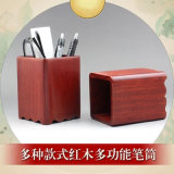 越南红木双格笔筒实木质办公桌正方形收纳筒文房四宝