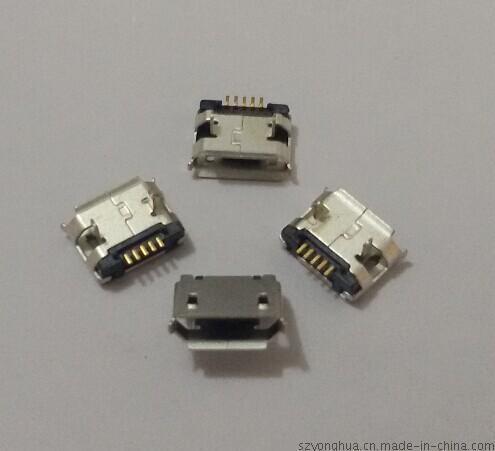 MICRO USB 5P B型插板4.8腳長1.7端子加長0.4有柱有導位