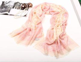 精薄秋冬纯羊毛印花围巾