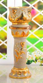 欧式奢华陶瓷罗马柱,电镀金砂花盆花插工艺品,创意家居摆饰品