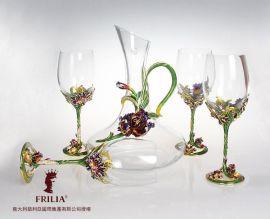 翡利亞幸福鳶尾水晶紅酒高腳杯套裝水晶玻璃醒酒器高檔家居實用擺件