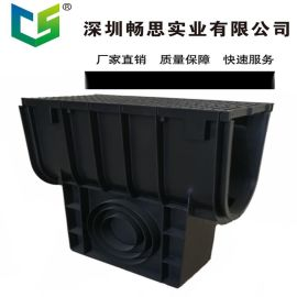 HDPE排水沟厂家 预制塑料排水沟 环保材料  不锈钢缝隙盖板