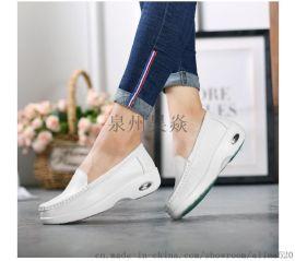 厂家直销现货可贴标白色增高软底防滑气垫护士鞋皮鞋