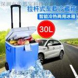 華思寶30L拉桿式便攜車載冰箱,帶輪子移動迷你小冰箱,保溫箱
