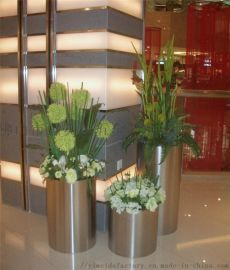 不锈钢  酒店花器 商场机场售楼中心花盆组合