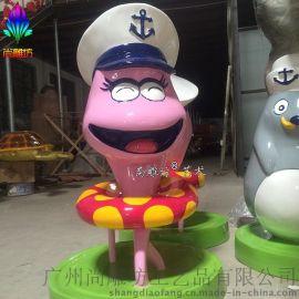 小章 海洋主题卡通动物雕塑 海蛇造型航海员卡通玻璃钢雕塑
