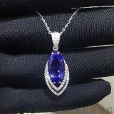 18K金钻石镶嵌4.64克拉马眼形坦桑石吊坠
