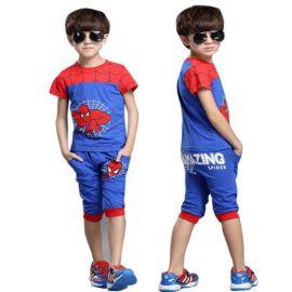 蜘蛛侠男童奥特曼纯棉童装短袖套装夏装童装一件代发