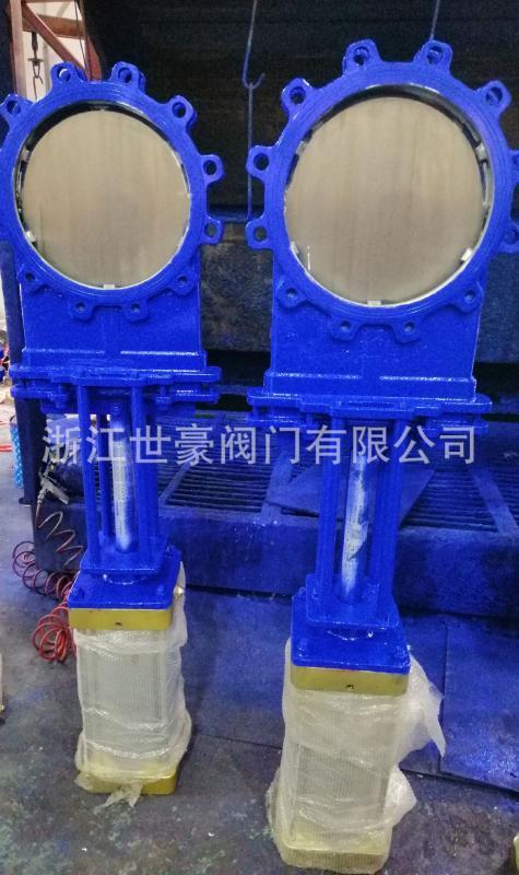 气动闸板阀耐磨 气动刀闸阀凸耳式 铸钢DN300
