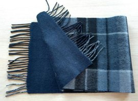2016冬季熱銷男士50%羊絨50%羊毛雙面混紡圍巾
