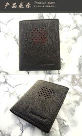 上海工厂生产皮具钱夹 黑色荔枝纹真皮钱包 短款卡包
