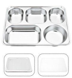 不锈钢带盖快餐盘五格加深学生餐盘