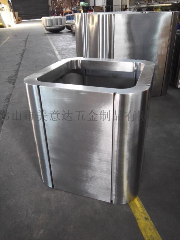 不锈钢拉丝花盆 金属不锈钢花器厂家定做