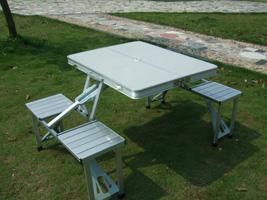 联体铝合金折叠桌