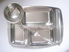 纯正304不锈钢大五格快餐盘