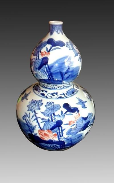 青花陶瓷葫芦瓶客厅摆件