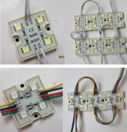 LED模块4灯5050贴片七彩 白光 红光 防水模组广告招牌 发光字灯