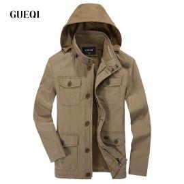 GUEQI 時尚男式夾克供應 絨感可摺疊帽紳士夾克 男士加大磨毛外套