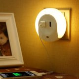 双USB手机充电插座LED光控感应小夜灯床头灯插电带开关 礼品定制