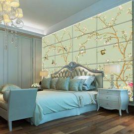 软包背景墙效果 个性3d壁画硬包 床头背景壁画软包