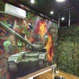KTV背景军事迷彩墙纸 餐厅包房3d立体壁画